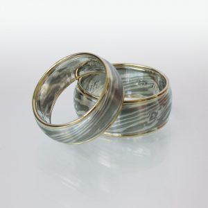 Trauringe 18k Gold marmoriert