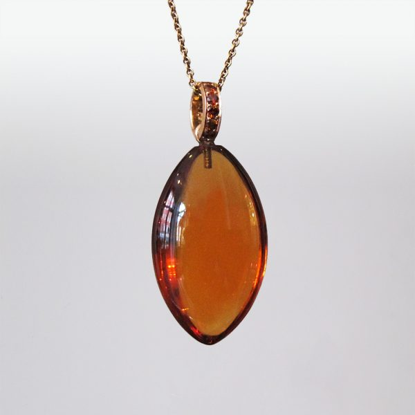 Anhänger Citrin 18k Gold orangefarbige Diamanten