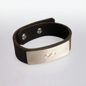 Armband Leder Silber Gravur