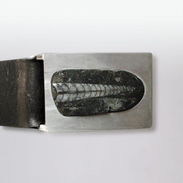 Gürtel Silber Fossil Leder