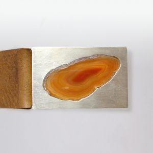 Gürtel Silber Achatscheibe Leder