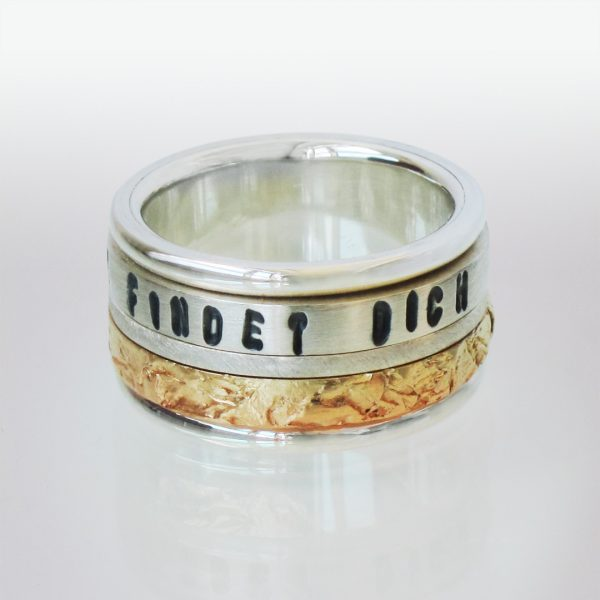 Ring 18k Gold Silber Text